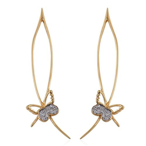 Kimberley Butterfly Collection Natural Cambodian Zircon (Rnd) Butterfly Earrings in 14K Gold Overlay Sterling Silver 0.250 Ct.