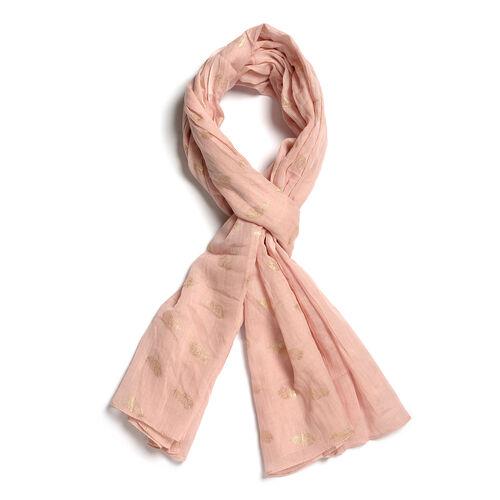 100% Cotton Golden Colour Leaves Pattern Foil and Light Pink Colour Scarf (Size 180x100 Cm)