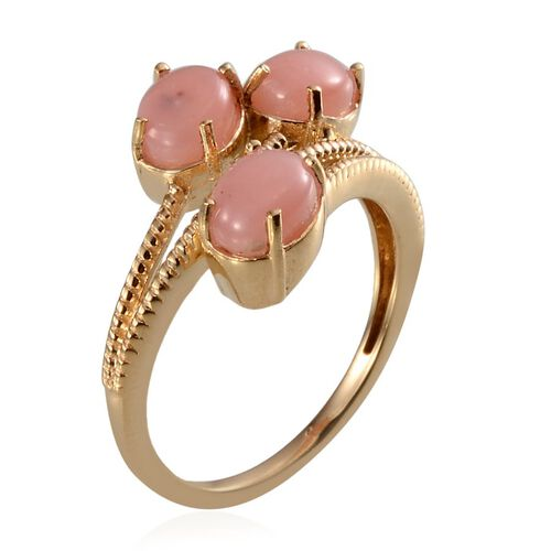 Peruvian Pink Opal (Ovl) Trilogy Ring in Yellow Gold Overlay Sterling Silver 2.250 Ct.