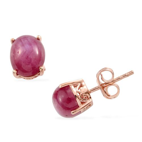 Star Ruby (Ovl) Stud Earrings (with Push Back) in Rose Gold Overlay Sterling Silver 6.000 Ct.
