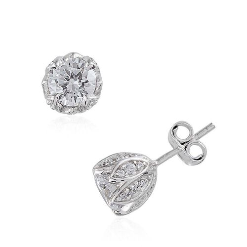 Simulated Diamond (Rnd) Earrings in Platinum Overlay Sterling Silver