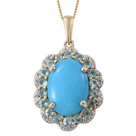 9K Y Gold AAA Arizona Sleeping Beauty Turquoise (Ovl 5.20 Ct), Paraiba Apatite and Natural Cambodian Zircon Pendant With Chain 6.500 Ct.