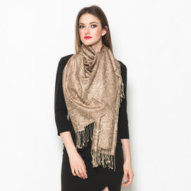 100% Superfine Silk Chocolate Colour Paisley Pattern Beige Colour Jacquard Jamawar Scarf with Fringes at the Bottom (Size 180x70 Cm) (Weight 125 - 140 Gms)