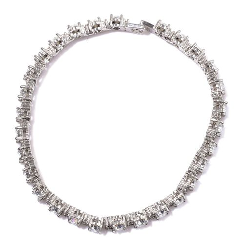 AAA Simulated White Diamond and White Austrian Crystal Bracelet (Size 7.5) in Silver Tone