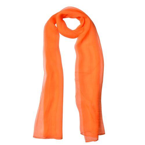 100% Mulberry Silk Orange Colour Scarf (Size 170X60 Cm)
