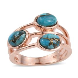Mojave Blue Turquoise (Ovl) Trilogy Ring in Rose Gold Overlay Sterling Silver 2.250 Ct.