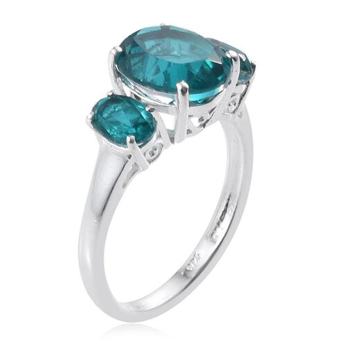 Capri Blue Quartz (Ovl 3.00 Ct) 3 Stone Ring in Sterling Silver 4.000 Ct.