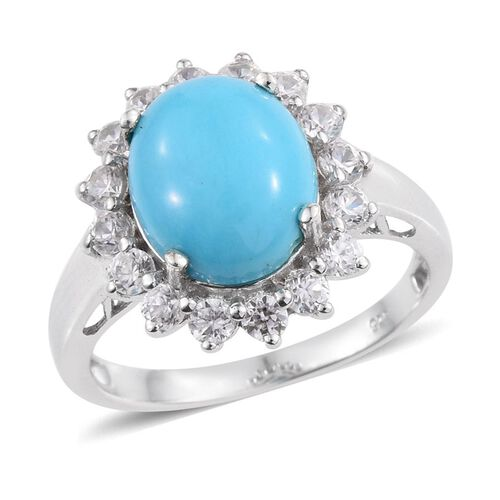 Arizona Sleeping Beauty Turquoise (Ovl 2.75 Ct), Natural Cambodian Zircon Ring in Platinum Overlay Sterling Silver 4.000 Ct.