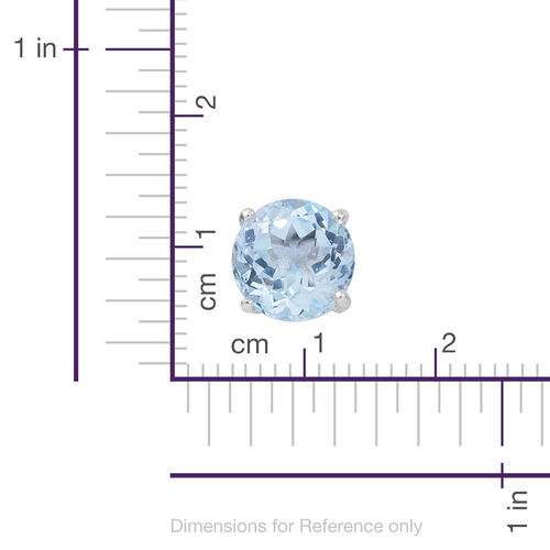 Sky Blue Topaz (Rnd) Stud Earrings (with Push Back) in Rhodium Plated Sterling Silver 6.500 Ct.