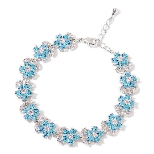 AAA Blue Austrian Crystal and Simulated Diamond Floral Bracelet (Size 7.5 with 1 inch Extender) in Silver Tone