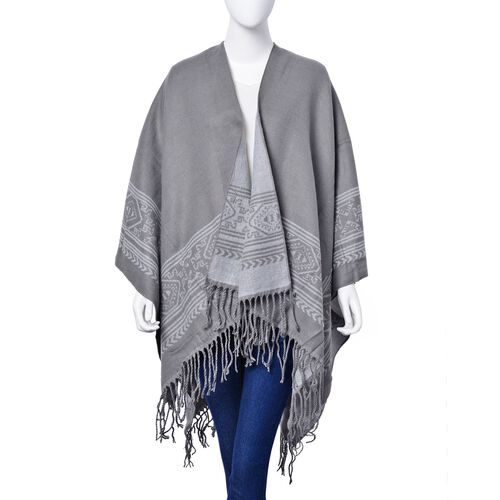 Designer Inspired - White and Grey Colour Intricate Pattern Reversible Poncho with Tassles (Size 130x75 Cm)