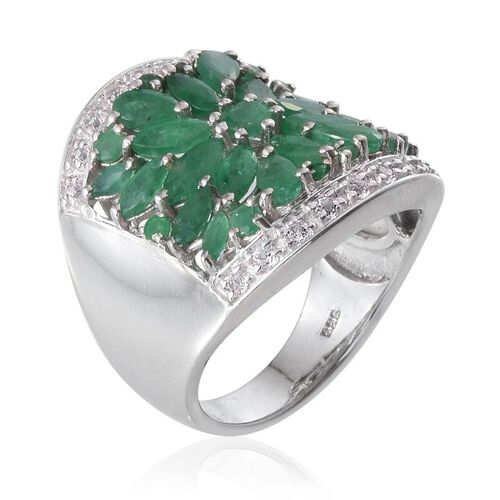 Kagem Zambian Emerald (Rnd), White Topaz Ring in Platinum Overlay Sterling Silver 4.000 Ct.