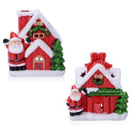 Home Decor - Set of 2 - Red Colour Christmas House Candle Holder with Green Trees and Santa