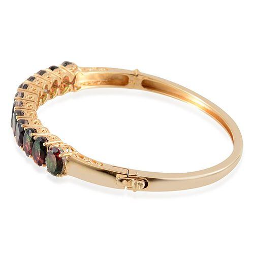 Tourmaline Colour Quartz (Ovl) Bangle in 14K Gold Overlay Sterling Silver (Size 7.5) 15.000 Ct.