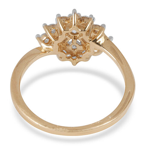 14K Yellow Gold IGI Certified Diamond (Rnd 0.06 Ct) (I2/G-H) Cluster Ring 0.500 Ct.