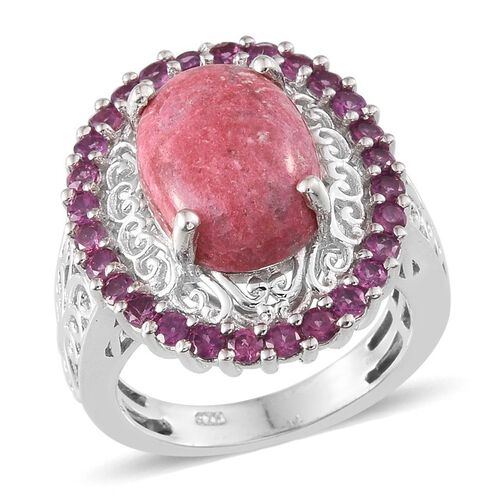 Norwegian Thulite (Ovl 7.25 Ct), Rhodolite Garnet Ring in Platinum Overlay Sterling Silver 8.500 Ct.