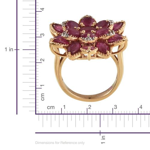 African Ruby (Rnd 1.25 Ct), Pink Sapphire and White Topaz Floral Ring in 14K Gold Overlay Sterling Silver 12.750 Ct.