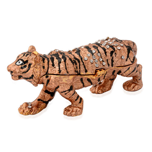 Brown and Black Enameled Tiger Shape Trinket Box in Gold Tone with White Austrian Crystal