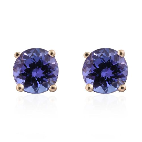 14K Yellow Gold 1 Carat Tanzanite Round Solitaire Stud Earrings.