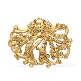 White Austrian Crystal Brooch in Goldtone