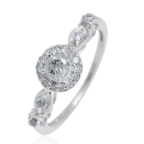 14K White Gold IGI Certified Diamond (Rnd 0.25 Ct) (I2/G-H) Ring 0.500 Ct.