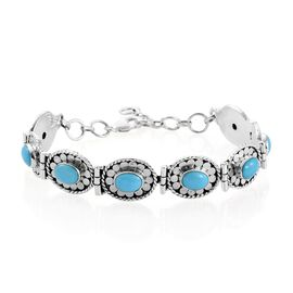 Arizona Sleeping Beauty Turquoise (Ovl) Bracelet (Size 7.5 with 1 inch Extender) in Sterling Silver 8.480 Ct.