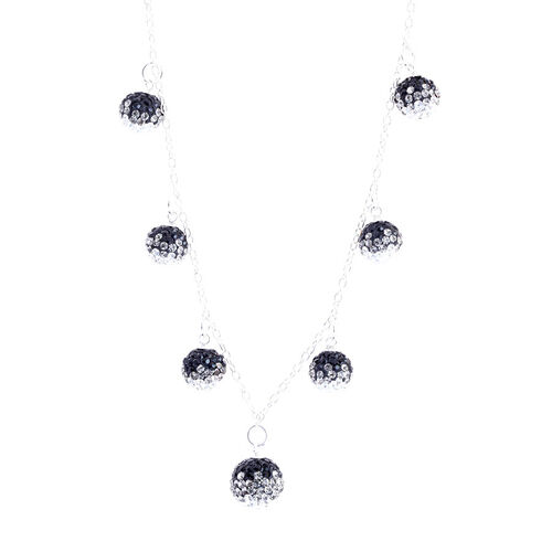 White and Black Austrian Crystal Necklace (Size 18) in Sterling Silver
