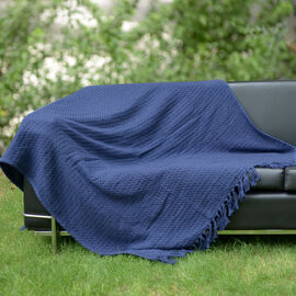 100% Cotton Jacquard Chenille Dark Blue Colour Throw (Size 150x125 Cm)