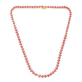 Burmese Ruby (Rnd) Full Eternity Necklace (Size 18) in 14K Gold Overlay Sterling Silver 17.500 Ct.