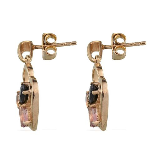 Rainbow Tourmaline (Ovl) Earrings (with Push Back) in 14K Gold Overlay Sterling Silver 1.000 Ct.