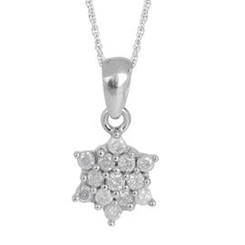 9K W Gold Diamond (Rnd) Pendant With Chain 0.315 Ct.