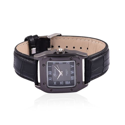 GENOA Japanese Movement Black Colour Dial Water Resistant Watch in Black Tone with Stainless Steel Back and Black Strap