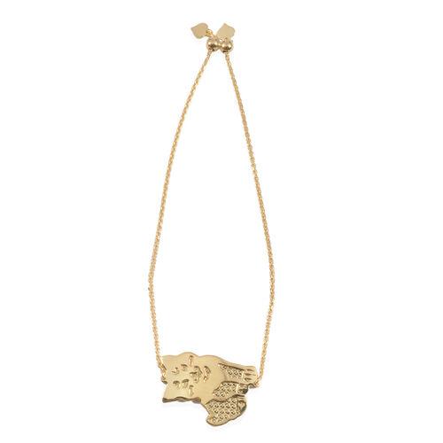 Designer Inspired 14K Gold Overlay Sterling Silver Cat Charm Bracelet (Size 9 with Adjustable), Silver wt 4.00 Gms.