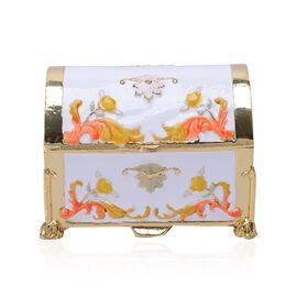White and Gold Enameled Trunk Trinket Box