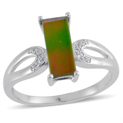 Canadian Ammolite (Bgt 1.65 Ct), White Topaz Ring in Platinum Overlay Sterling Silver 1.750 Ct.