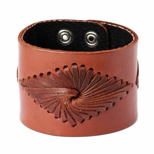 Chocolate Leather Cuff with Basket Weave Pattern