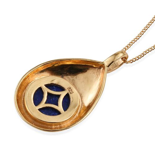 Lapis Lazuli (Rnd) Solitaire Pendant With Chain in 14K Gold Overlay Sterling Silver 4.250 Ct.