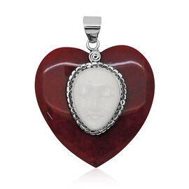 Princess Bali Collection Sponge Coral (Hrt), OX Bone Carved Face Pendant in Sterling Silver 41.700 Ct.
