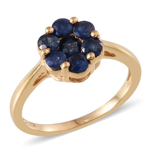 Kanchanaburi Blue Sapphire (Rnd) 7 Stone Floral Ring in 14K Gold Overlay Sterling Silver 1.750 Ct.