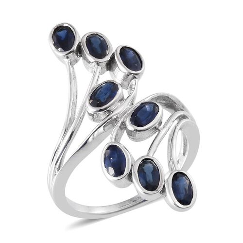 Kanchanaburi Blue Sapphire (Ovl) Crossover Ring in Platinum Overlay Sterling Silver 2.500 Ct.