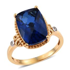 Ceylon Colour Quartz (Cush), Diamond Ring in 14K Gold Overlay Sterling Silver 6.500 Ct.