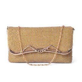 AAA White Austrian Crystal Studded Champagne Colour Party Glamour Clutch Bag with Chain Strap in Gold Tone (Size 19x11 Cm)