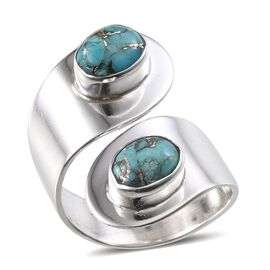 Jewels of India Blue Copper Turquoise (Ovl) Ring in Sterling Silver 2.180 Ct.