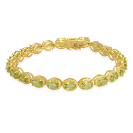 Hebei Peridot (Ovl) Bracelet in Yellow Gold Overlay Sterling Silver (Size 7) 10.750 Ct.