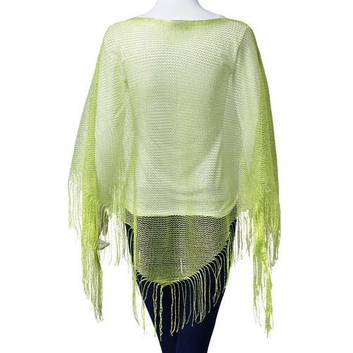 Lime Green Colour Poncho with Tassels (Size 165x60 Cm)