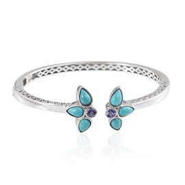 Arizona Sleeping Beauty Turquoise (Pear), Tanzanite Bangle (Size 7.5) in Platinum Overlay Sterling Silver 5.000 Ct.