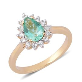 Boyaca Colombian Emerald (3.00 Ct) and Diamond 14K Y Gold Ring  4.000  Ct.
