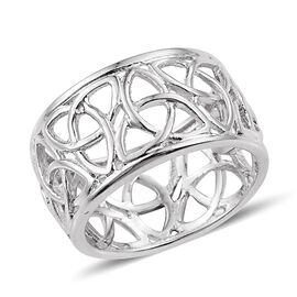 Platinum Overlay Sterling Silver Band Ring, Silver wt 4.04 Gms.