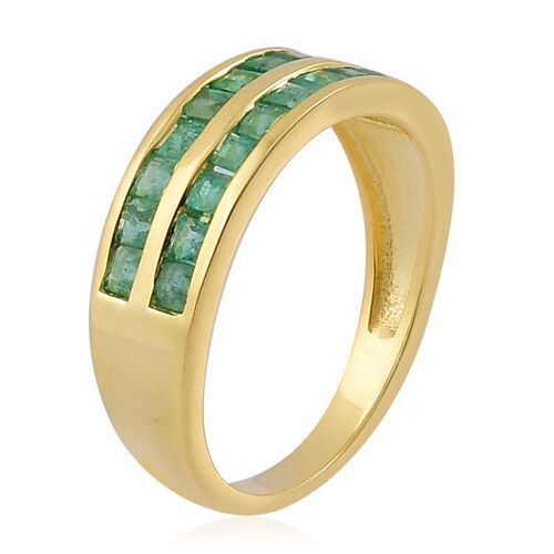 Brazilian Emerald (Sqr) Ring in Yellow Gold Overlay Sterling Silver 1.000 Ct.