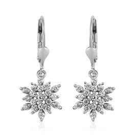 Natural Cambodian Zircon 1 Carat Snowflake Lever Back Earrings in Platinum Overlay Sterling Silver